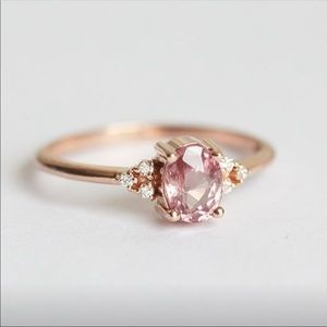 NWT 18k Gold Pink Zircon and Diamond Ring